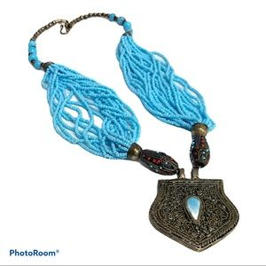 Statement Necklace Silver Blue Faux Turquoise